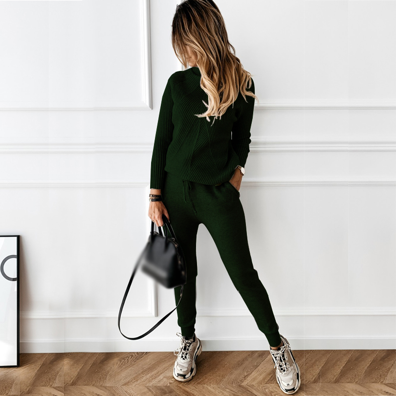 TYHRU Autumn Winter Women's tracksuit Solid Color Striped Turtleneck Sweater and Elastic Trousers Suits Knitted Two Piece Set 5