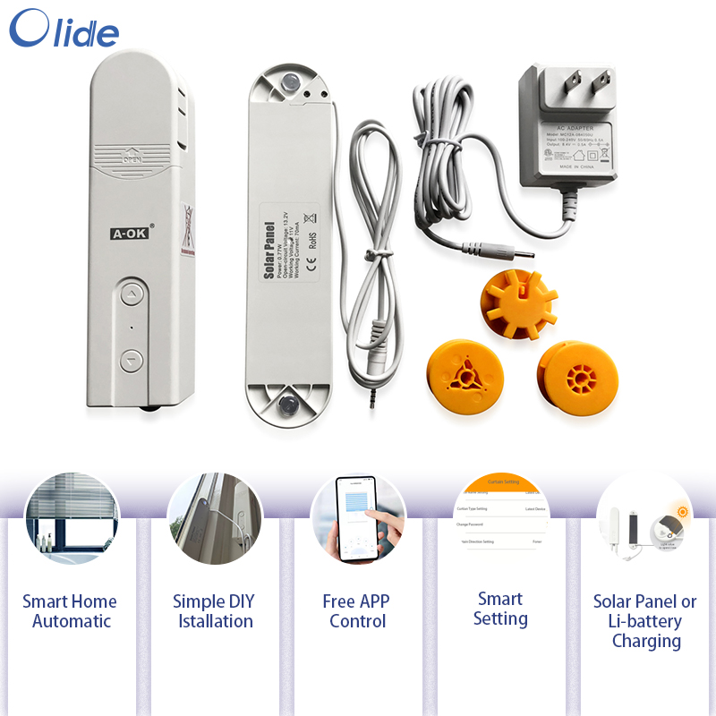 Olide Smart Motorized Chain Roller Blinds Shade Shutter Drive Motor Powered By Solar Panel And Charger Bluetooth APP Control