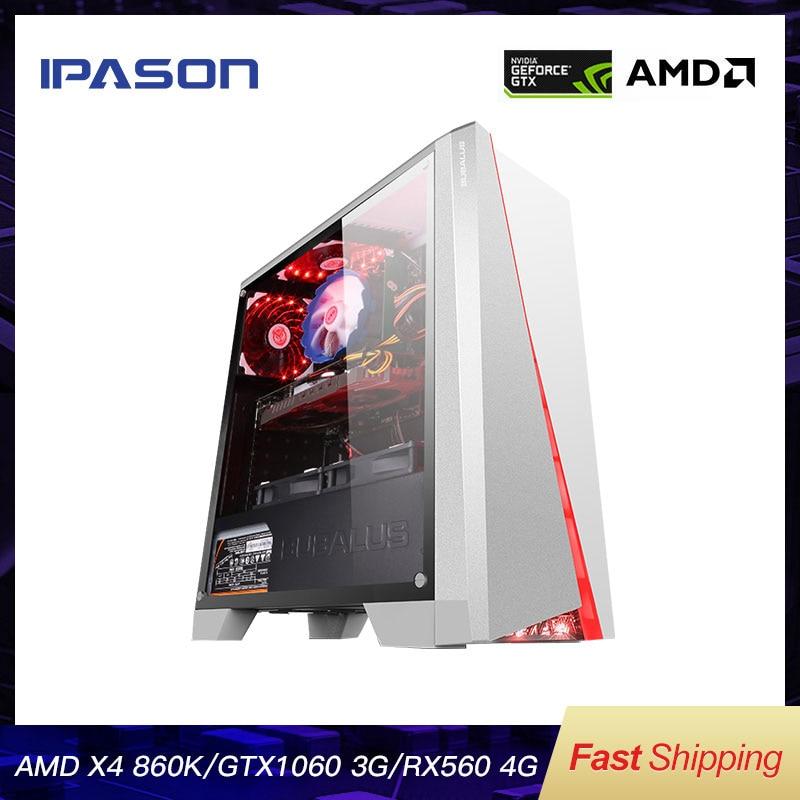 IPASON Office Desktop Computer Gaming Card 1050TI Upgrade/RX560 4G AMD X4 860K RAM D3/D4 8G 120G SSD Cheap Gaming PC