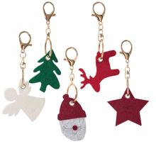 1PC Cute Christmas Keychain Decorations Cartoon Felt Xmas Tree Santa Claus Star Angel Elk Key Rings Pendant Jewelry Holiday Gift