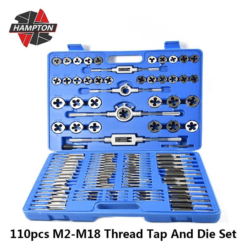 Juego de herramientas de mano, de taladro de rosca métrica Grifo y Die Set de M2-M18, de 110 Uds., para trabajo de Metal