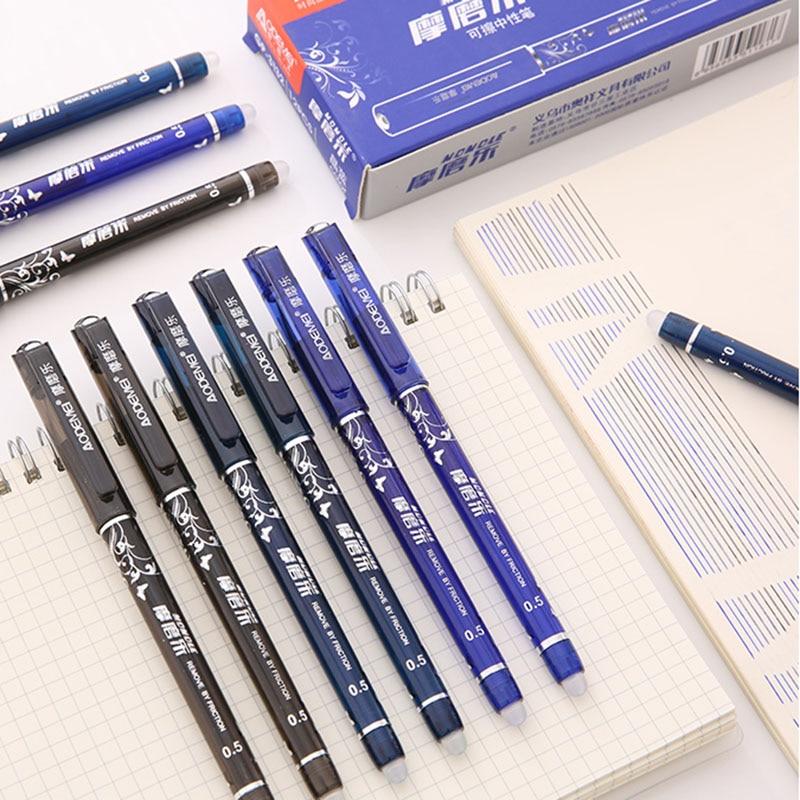 4+50Pcs/Set Blue Black Red Ink Erasable Pen 0.5mm Refills Gel Pens For Kids Girls Gifts School Office Supplies Stationery