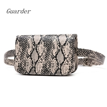 Guarder Snake Print Belt Bag Women Serpentine PU Leather Waist Female Fanny Fashion Pack Mobile Phone GUA0020