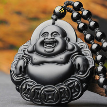 Natural Black Obsidian Money Buddha Jade Pendant Necklace Chinese Hand-Carved Fashion Jewelry Accessories Amulet for Men Women natural afghanistan white yu stone pendant with beads necklace carved maitreya laughing buddha women s amulet jewelry pendants