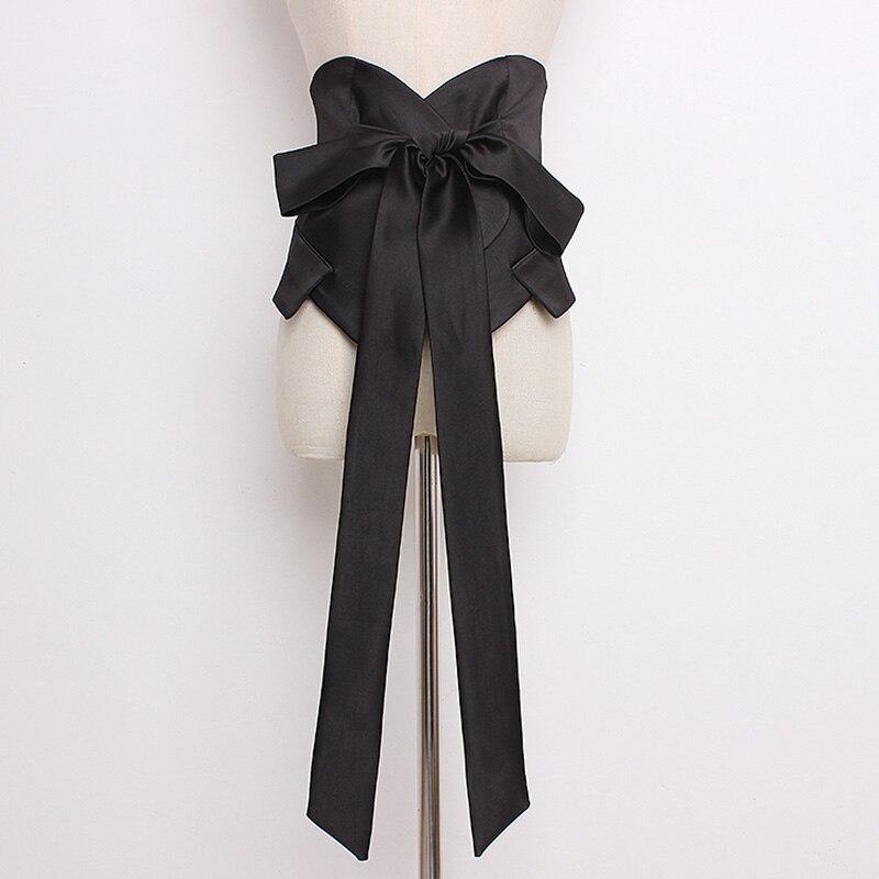 Long Black Waistband Women Wide Waist Belt Female Fashion Shirt Bowknot Long Belts 2020 High Quality Clothing Dress Belt