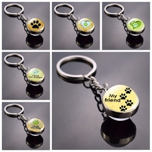 Dog Paw Keychain Photo Double Side Cabochon Glass Ball Fashion Charm Pendant Lovely Lovers Gifts