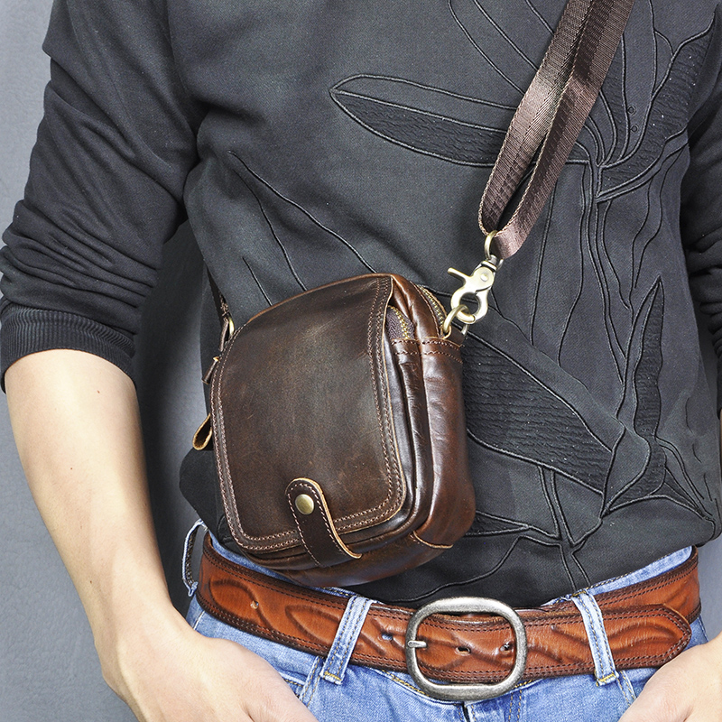 New Fashion Quality Real Leather Small Pouch Travel Fanny Waist Pack Belt Cross-body Bag Cigarette Case 5.5