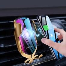R1 자동 클램핑 10W 무선 충전기 자동차 전화 홀더 스마트 적외선 센서 공기 환기 마운트 휴대 전화 스탠드 홀더