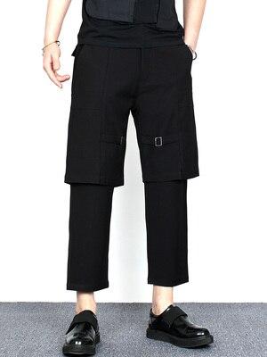Fashion brand dark false two casual nine-quarter pants summer male hairdresser loose legs sagging feeling harem pants