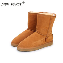 Women Boots Shoes Classic Warm Winter Large-Size Genuine-Cowhide-Leather Mbr Force 34-44