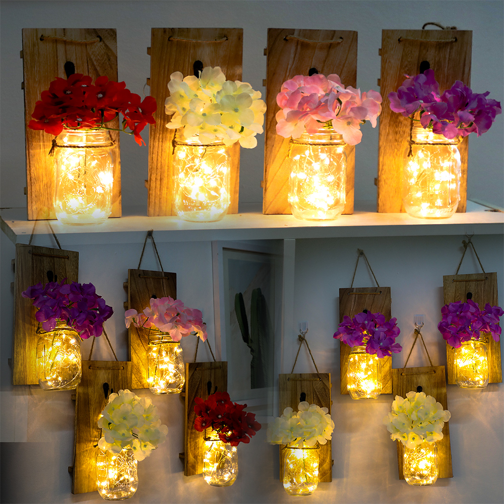 2Pcs Battery Powered Color Flower Mason Jar Sconce Rustic Home Decor Design Wrought Iron Hook Silk Hydrangea+LED Strip Light D25