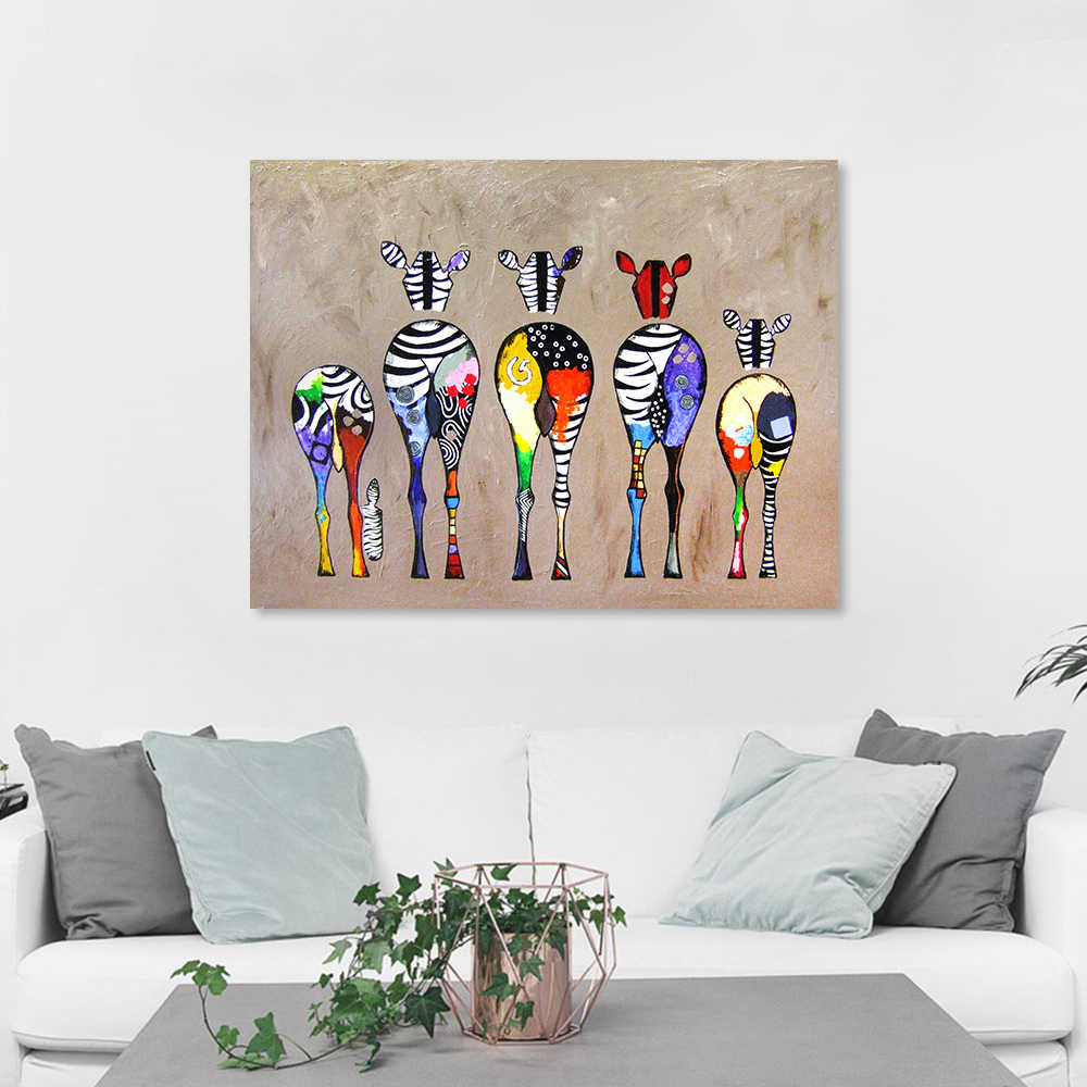 AAVV Wall Art Picture Canvas Print Animal Painting Zebras For Living Room Home Decor No Frame