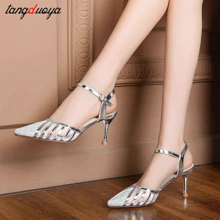 Düğün ayakkabı gelin altın gümüş ayakkabı kadın yaz yüksek topuklu sandalet kadın sivri burun topuklu elbise ayakkabı bayan pompaları örgü