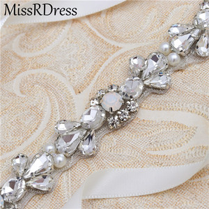 Image 5 - MissRDress Opalas de Cristal Cinto De Noiva Prata Faixa De Casamento Para As Mulheres Strass Cinto Fino Vestido de Noiva vestido de Baile JK977