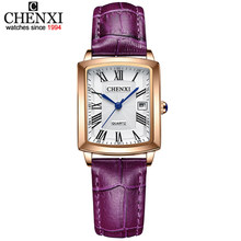 CHENXI moda kadın saatler üst marka lüks su geçirmez bayanlar Quartz saat deri kayışlı kol saati kadın saat Montre Femme