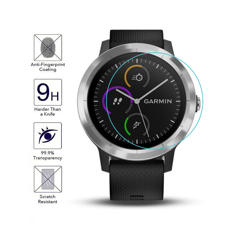 For Garmin Vivoactive 3 Watch Tempered Glass Film HD Scratch-resistant Tempered Film 2.5D Premium Screen Protector Film TSLM1