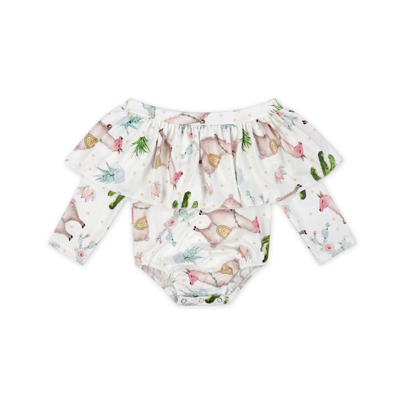 Hot Sales Europe And America 2019 New Style Baby Alpaca Printed Sleeveless Leotard Infant Triangle Jumpsuit Romper