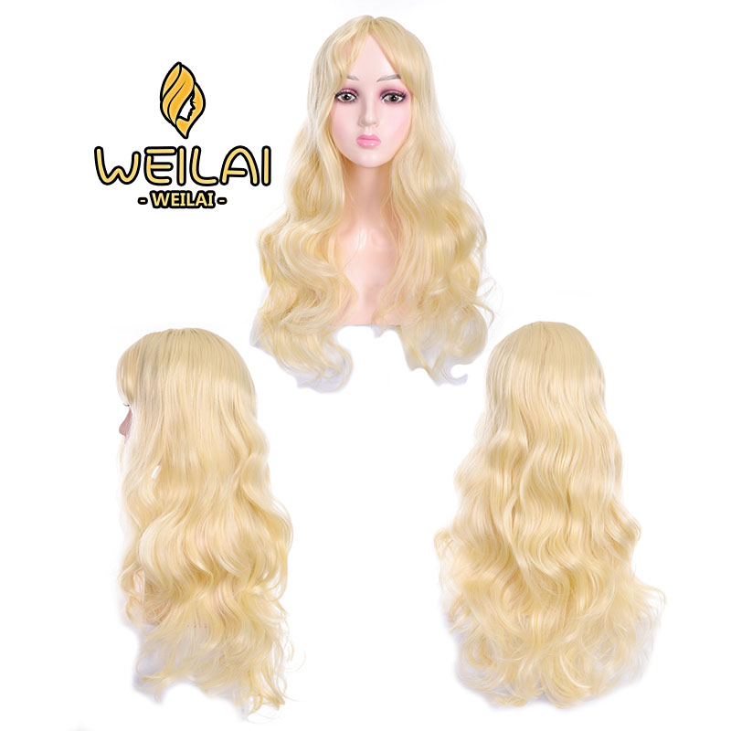 WEILAI Wigs For Women Big Wave Long Blonde Hair Wavy Hair Bangs High Temperature Fiber Synthetic Wig