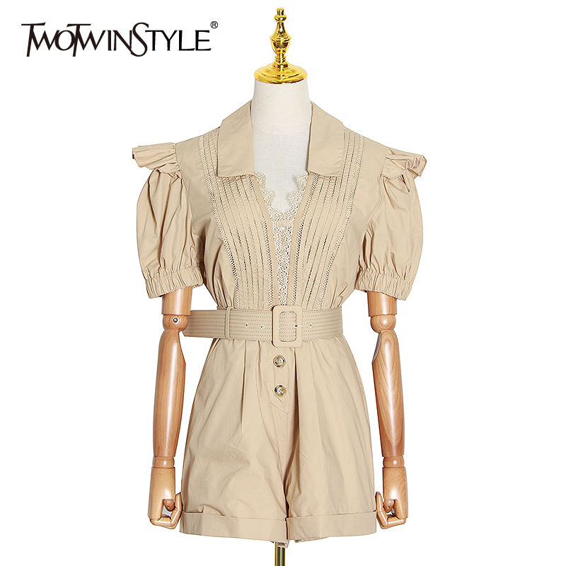 TWOTWINSTYLE Elegant Patchwork Lace Women Short Jumpsuit V Neck Lantern Short Sleeve High Waist With Sashes Playsuits Female New