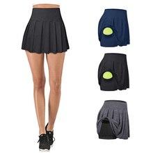 Tennis Skirts Fitness High-Waist Running Pocket Gym Women Gymwear Anti-Exposure Quick-Drying