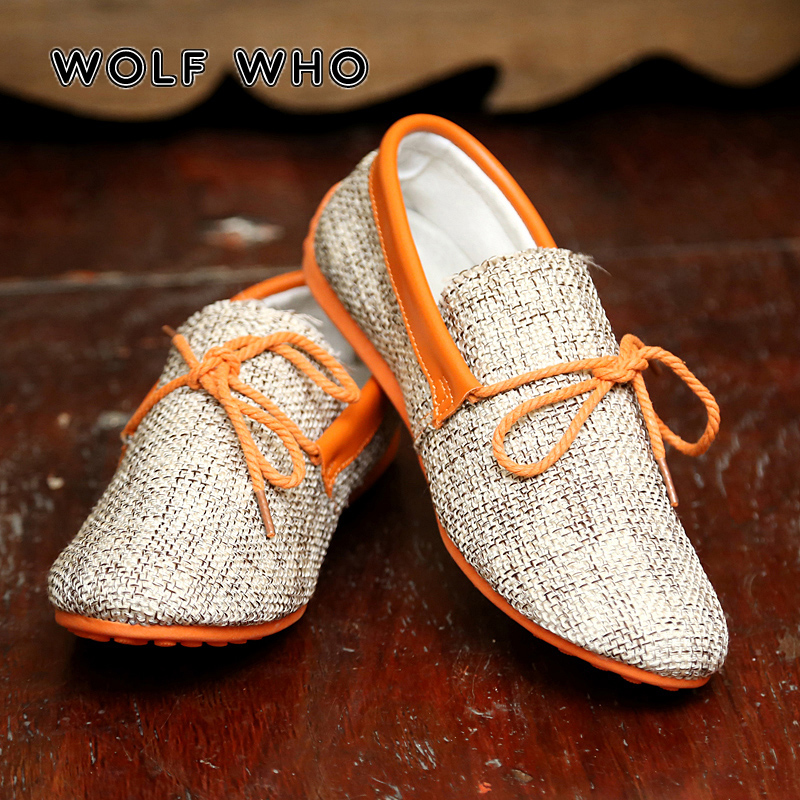 WOLF WHO 2018 Men Shoes Walking Breathable Casual Male sapato masculino hemp Slip Driving Moccasin adult Loafers Flat Shoes W005|Men's Casual Shoes| |  - title=