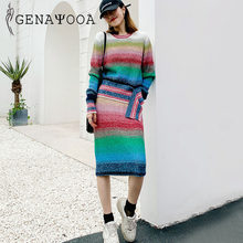 Genayooa Rainbow O Neck Two Piece Set Top And Skirt Knitted 2 Piece Set Women Matching Sets For Women Autumn Winter Sweater Suit(China)