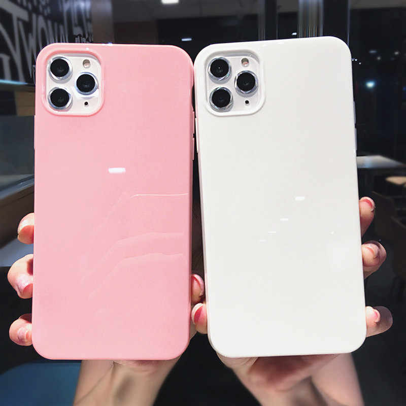 Lovebay Colorful Phone Case untuk iPhone XR X XS Max 6 6S 7 7 Plus 11Pro Max Candy Solid warna Lembut TPU Cerah Sederhana Penutup Belakang