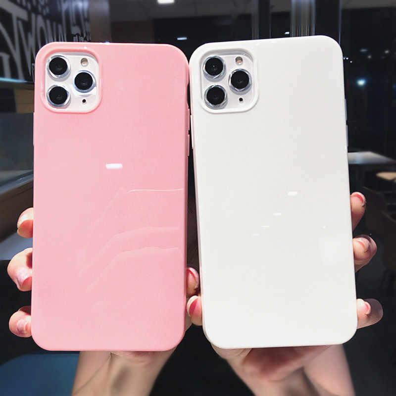 جراب هاتف ملون من Lovebay لهاتف iPhone XR X XS Max 6 6S 7 8 Plus 11Pro Max لون سادة ناعم من البولي يوريثان غطاء خلفي بسيط مشرق