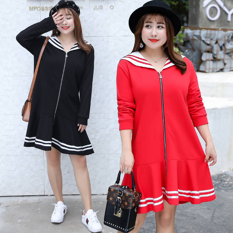 Autumn And Winter New Style Plus-sized Extra Large WOMEN'S Dress Navy Collar Dress Korean-style Coat A Generation Of Fat 1483