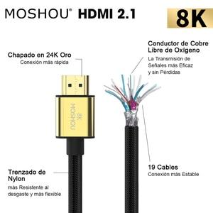 Image 2 - MOSHOU Cables HDMI 2,1, 8K, 60Hz, 4K, 120Hz, 48Gbps de ancho de banda, cable de 2m para amplificador de TV, interfaz Multimedia de alta definición