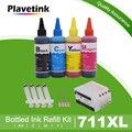 Набор чернил для принтера Plavetink 100 мл + картридж для принтера HP 711 XL Designjet T120 24 T120 610 T520 24 T520