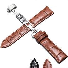 Butterfly Buckle Racelet Accessories Genuine Leather Strap  Croco Grain Black Brown Steel Buckle Watch Band Men 18mm 20mm 22mm