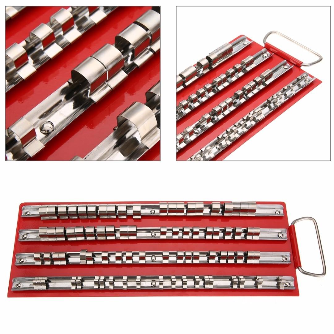 "80pcs Socket Tray Rack 1//4/"" 3//8/"" 1//2/"" Steel Snap Rail Tool Holders Organizer"