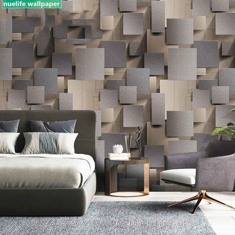 3D Green Gray Square Plaid Deer Velvet Wallpaper Bedroom Restaurant Office Bar Living Room TV Background Wall Paper
