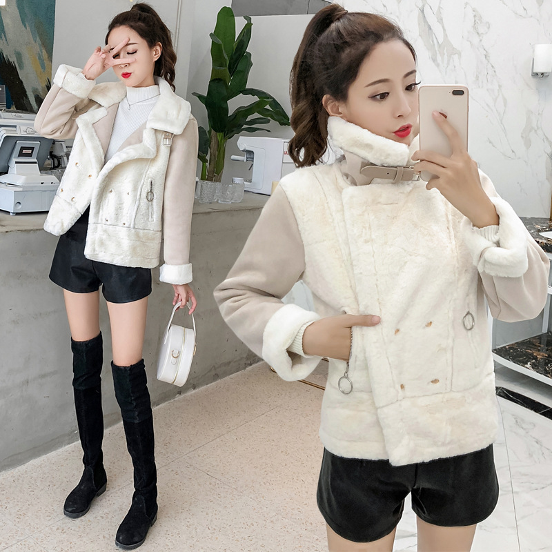 Suede Lambs Wool Coat Women's Fall And Winter Clothes 2018 New Style Korean-style Students Short Jackets
