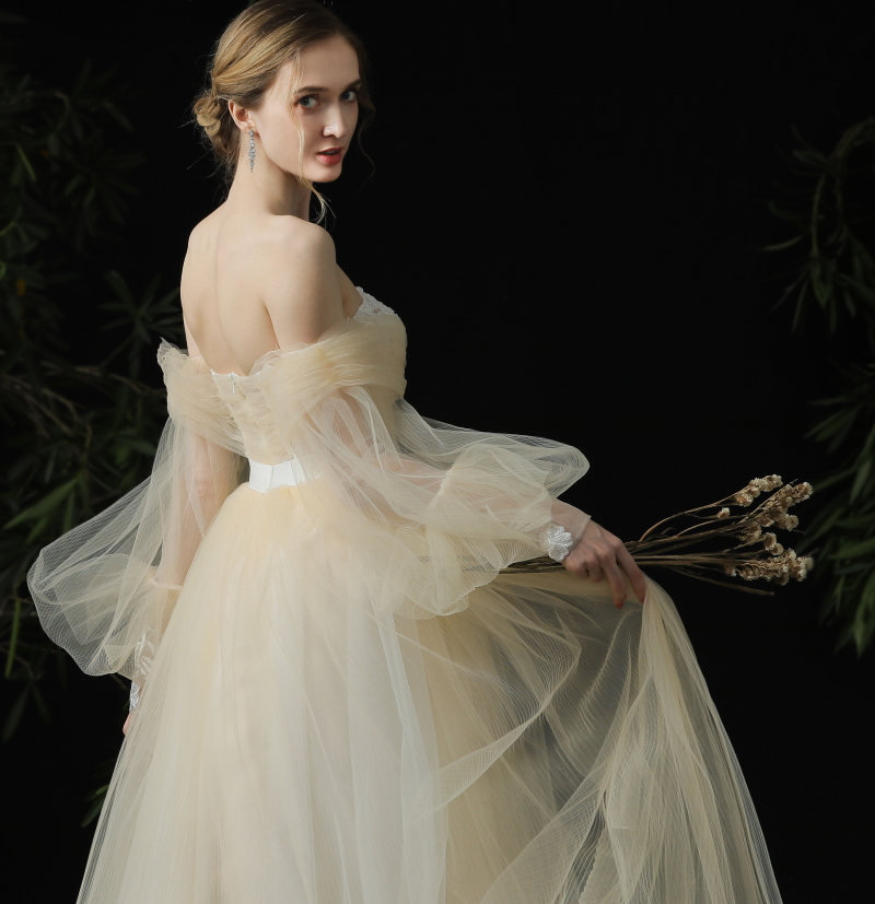 Super Fairy Simple Tulle Princess Style VINTAGE REAL PHOTO FACTORY PRICE Off Shoulder Ball Gown Wedding Dress