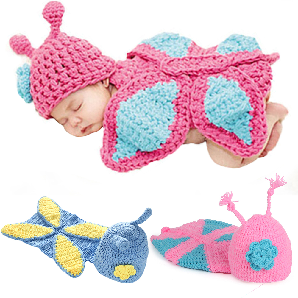 Newborn Baby Photo Clothes Photography Props Hooded Blanket Splicing Color Cover Knitwear Kids Lovely Newborn Clothes Suit