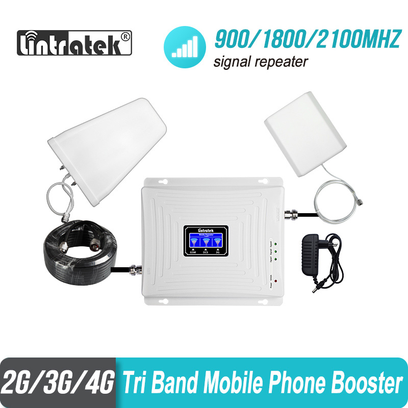 Lintratek 2g 3g 4g Tri banda de señal de 900 de 1800, 2100 GSM WCDMA UMTS y LTE repetidor de celular amplificador Triple banda de señal de teléfono celular de la telefonía móvil repetidor de señal de juego de la antena