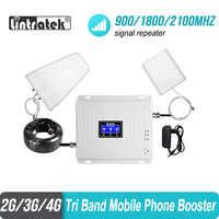 amplificateur 4g de Signal Lintratek 2g 3g 4g Tri bande 900 1800 2100 GSM WCDMA UMTS LTE répéteur cellulaire 900/1800/2100mhz amplificateur Amplificateur de signal cellulaire 2g 3g 4g Amplificateur de signal cellulaire