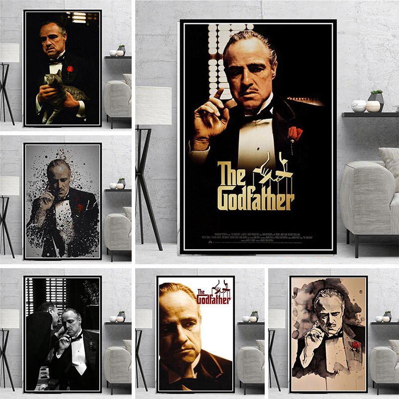Hot Movie The Godfather <font><b>Posters</b></font> and Prints Classic <font><b>Gangster</b></font> Actor Canvas Painting Cuadros Wall Art Picture for Home Decoration image