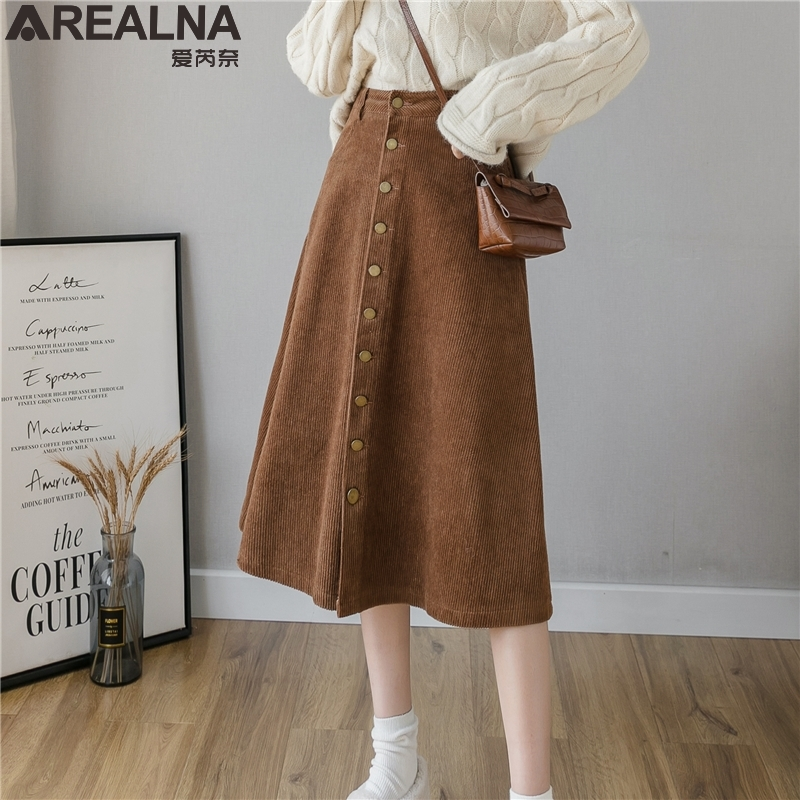 Long Corduroy Skirt Women Cotton Vintage Skirts For Women Long Winter Skirt Plus Size Corduroy A Line Skirts Womens Winter Warm