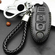 Faux Leather Case Car Key Parts Holder Remote Pouch Cover Black For Nissan Altima 2018-2019(China)