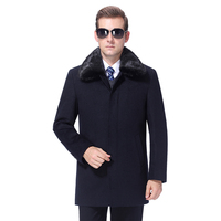 2020 Men Woolen Coat Winter Wool Blend Coat Cashmere Detachable Fur Collar Mens Pea Coat Overcoat 90% White Duck Down Filler