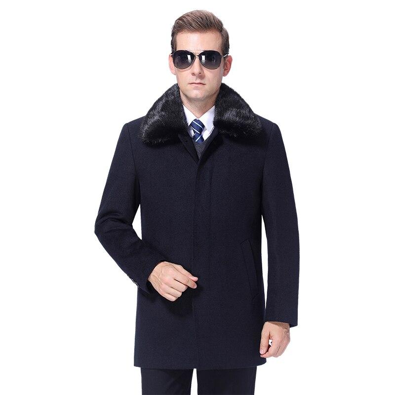 2020 Men Woolen Coat Winter Wool Blend Coat Cashmere Detachable Fur Collar Mens Pea Coat Overcoat 90% White Duck Down Filler