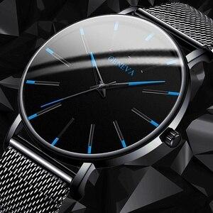 Модные мужские часы из нержавеющей стали, ультратонкие простые кварцевые наручные часы, роскошные деловые спортивные мужские часы, черные ...