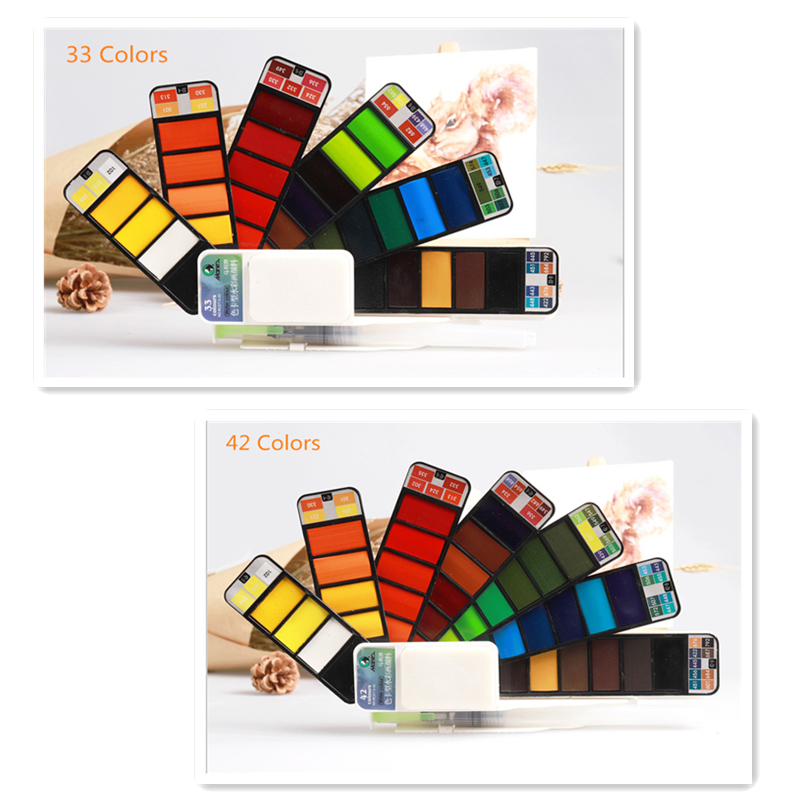 33-Superior 18253342colors Solid Watercolor Paint Set With Water Brush Pen Portable Water color Pigment For Drawing Art Paint (2)_副本