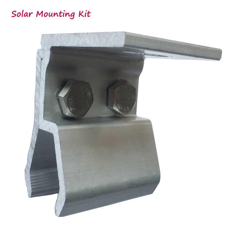 Kit de instalación de paneles solares para el hogar, accesorios, soportes, material de aluminio, abrazadera fija, base en el techo de acero