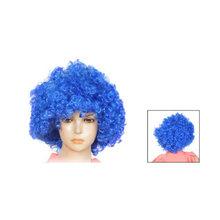 Dames Kunstmatige Grappige Kapsel Haar Dressing Curl Up Party Pruik Blauw(China)