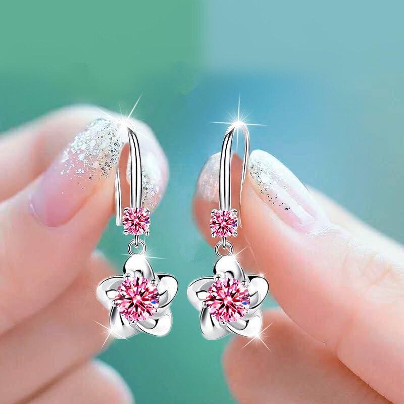 Elegante Rosa Blau Weiß Runde Stein Stern Blume Ohrringe Für Frauen Hochzeit Schmuck Vintage Mode Kristall Zirkon Ohrringe
