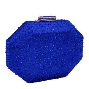 Image 2 - Boutique De FGG Octagon Shape Women Crystal Clutch Evening Bags Hard Case Luxury Handbags Ladies Metal Clutches Wedding Purse